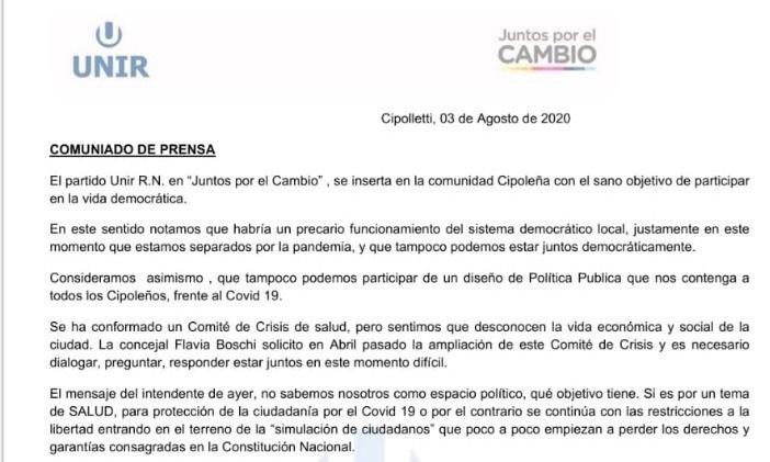 UNIR discute la realidad de Cipolletti y blanquea su ingreso a Cambiemos