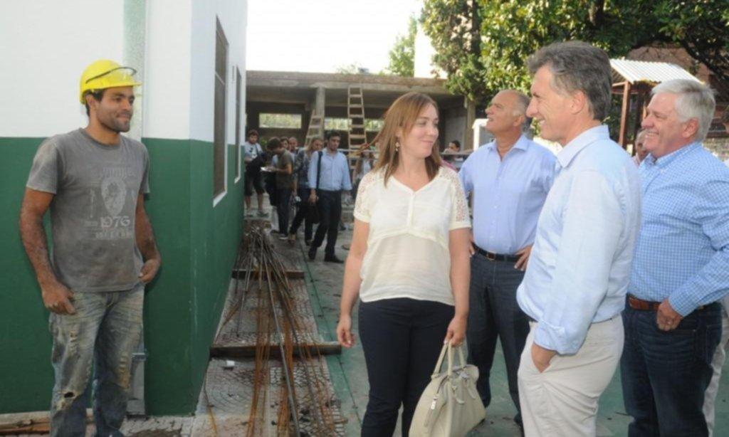 Macri, Vidal y Seneewald recorriendo Lanús en 2014 (FOTO: Prensa PRO). Fuente Letra P.
